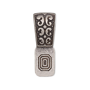Bail, Glue-on, Antique Silver-plated pewter (zinc-based Alloy), 31x11mm Fancy Design 14x10mm Flat Base. Sold Individually