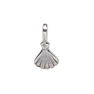 Bail, Glue-on, Antique Silver-plated Brass, 22x11.5mm 13x11.5mm Clam Shell Flat Base. Sold Individually