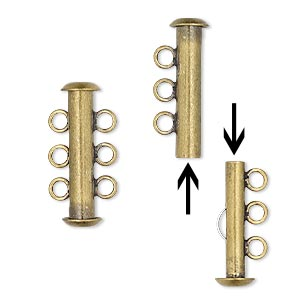 Clasp, 3-strand Slide Lock, Antique Gold-plated Brass, 21x6mm Tube. Sold Per Pkg 4