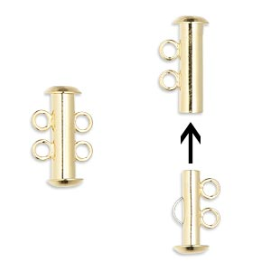 Clasp, 2-strand Slide Lock, Gold-plated Brass, 16x6mm Tube. Sold Per Pkg 10