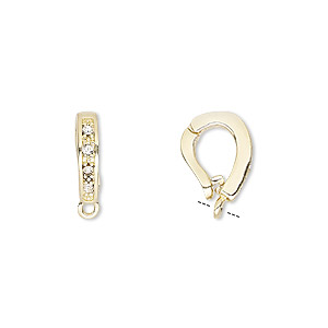 Bail, Czech Glass Rhinestone Gold-plated Brass, Clear, 12x3mm Single-sided Hinged Oval Closed Loop, 6mm Grip Length. Sold Per Pkg 2