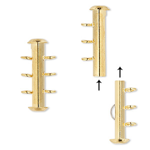Clasp, 3-strand Slide Lock, Gold-plated Brass, 21x6mm Round Tube. Sold Per Pkg 4