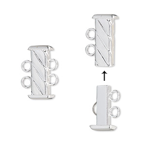 Clasp, 2-strand Slide Lock, Silver-plated Brass, 16x7mm Corrugated Rectangle Tube. Sold Per Pkg 4