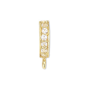 Bail, Enhancer, White Topaz (natural) Gold-finished Sterling Silver, 9x2mm Hinged Oval Closed Loop, 6mm Grip Length. Sold Individually