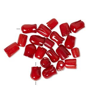 Bead Mix, Bamboo Coral (dyed), Red, 4mm-7x6mm Carved Tulip, B- Grade, Mohs Hardness 3-1/2 4. Sold Per Pkg 20