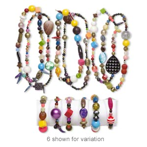 Necklace Bracelet Mix, Stretch, Acrylic, Mixed Colors, 5mm-50x49mm Mixed Shapes. Sold Per Pkg 3 Sets