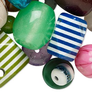 Bead Mix, Acrylic, Mixed Colors, 8-50mm Mixed Shape. Sold Per 1/2 Pound Pkg, Approximately 45 Beads