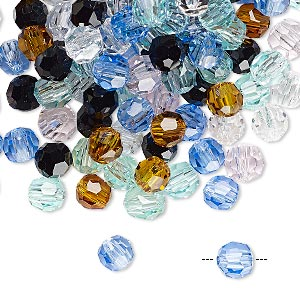 Bead Mix, Asfour Crystal, Crystal, Mixed Colors, 6mm Faceted Round. Sold Per 1-ounce Pkg, Approximately 150 Beads