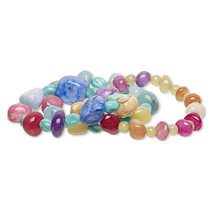 Bracelet Mix, Stretch, Quartz / Agate (dyed / Heated) / Acrylic, Multicolored, 6x5mm-17x16mm Round / Small Extra-large Pebble / Mini Medium Nugget, 6-1/2 Inches. Sold Per Pkg 3