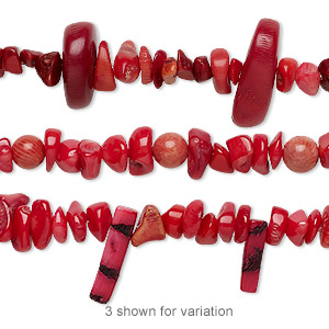 Bead Mix, Bamboo Coral (dyed), Light Dark Red, 5x4mm-28x23mm Mixed Shape, C Grade, Mohs Hardness 3-1/2 4. Sold Per 8-inch Strand