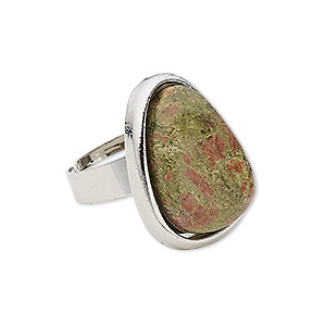 Ring, Unakite (natural) Silver-plated Steel pewter (zinc-based Alloy), 25x19mm-26x20mm Teardrop, Adjustable Size 5-9. Sold Individually