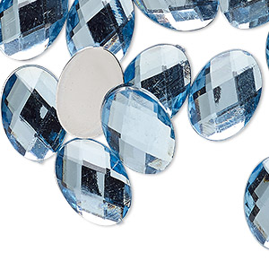 Cabochon, Acrylic, Transparent Light Blue, 18x13mm Non-calibrated Faceted Oval. Sold Per Pkg 24