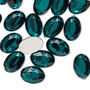 Cabochon, Acrylic, Transparent Green, 14x10mm Non-calibrated Faceted Oval. Sold Per Pkg 24