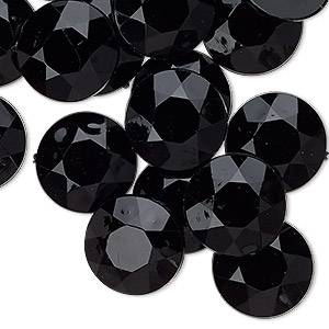 Cabochon, Acrylic, Opaque Black, 15mm Non-calibrated Faceted Round. Sold Per Pkg 24