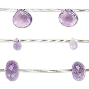 Bead Mix, Amethyst Lavender Amethyst (natural / Dyed), 5x2mm-13x10mm Hand-cut Mixed Shape, C Grade, Mohs Hardness 7. Sold Per Pkg (3) 6-inch Strands