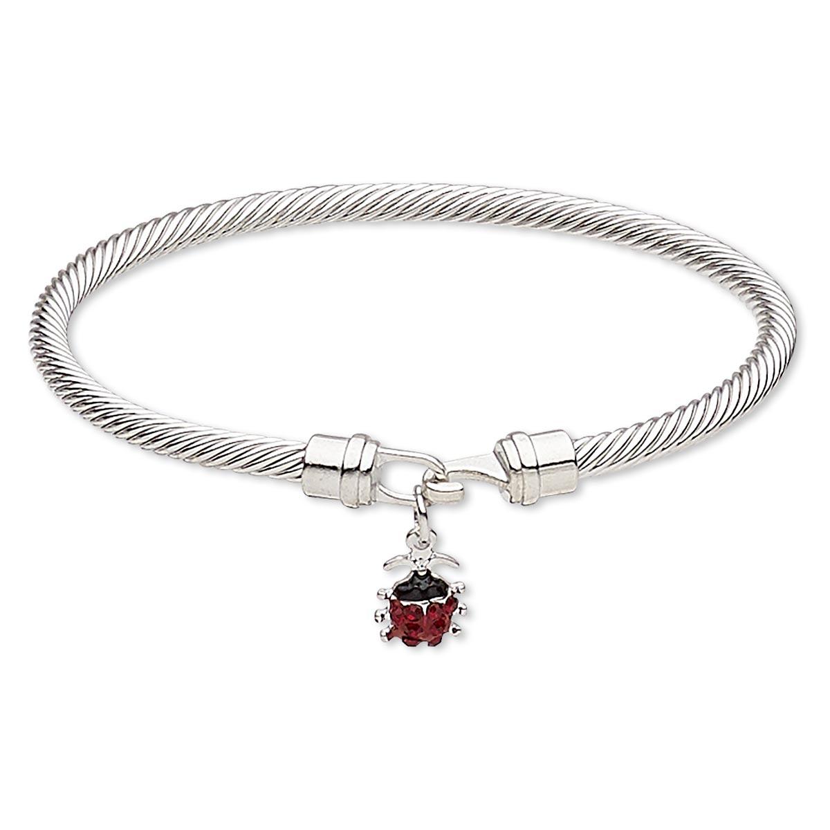Bracelet Bangle Enamel Czech Glass Rhinestone Silver