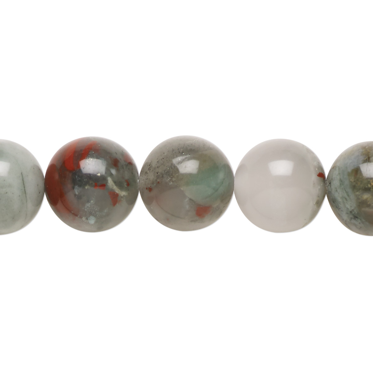 Bead. African bloodstone (natural). 12mm round. B grade. Mohs hardness 6-1/2 to 7. Sold per 15-1/2