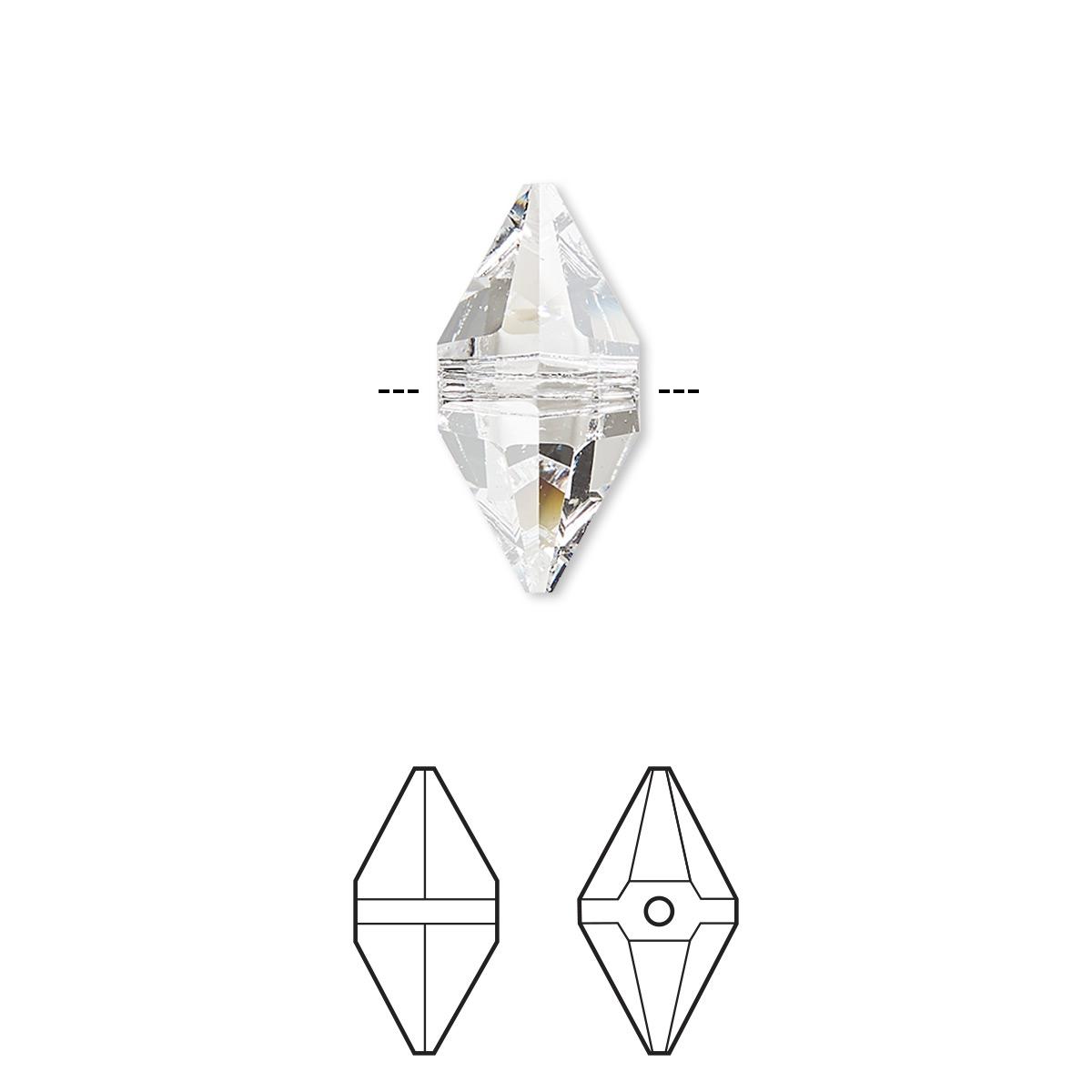 Bead, Swarovski® crystals, crystal clear, 16x8mm double