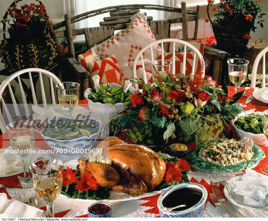 christmas turkey dinner christmas dinner table with food