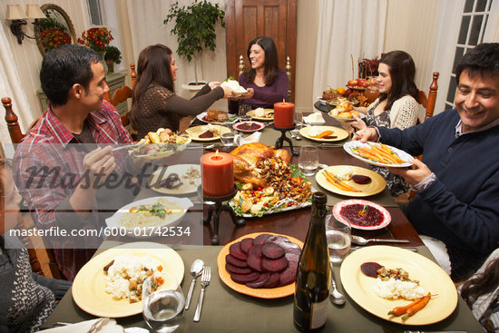 Family Having Thanksgiving Dinner    Stock Photo - Royalty-Free, Artist: Masterfile, Code: 600-01742534
