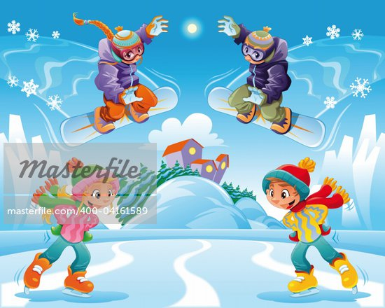 Young ice skater girl. Funny cartoon and vector character. Stock Photo - Crestock Royalty-Free, Artist: ddraw, Code: 400-04161589