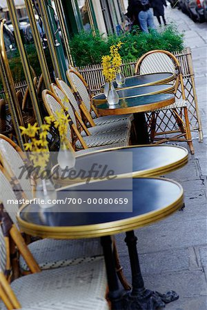 parisian cafe table and chairs chair covers for lift recliners tables at outdoor paris france stock photo