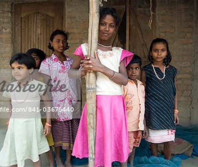 Village Girls Ganeshpahar Village Brahmaputra Assam India Asia Stock Photo
