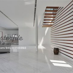 Open Plan Staircase In Living Room Design Help For Modern House Spacious White Area And Wooden Stairs Architects Lim Cheng Kooi Ar43 Stock Photo