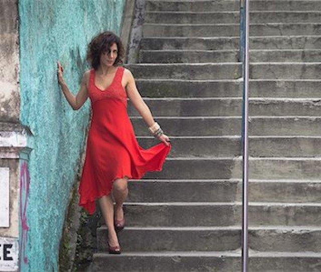 Fashion Model Wearing Red Dress Walking Down Steps Stock Photo Premium Royalty Free