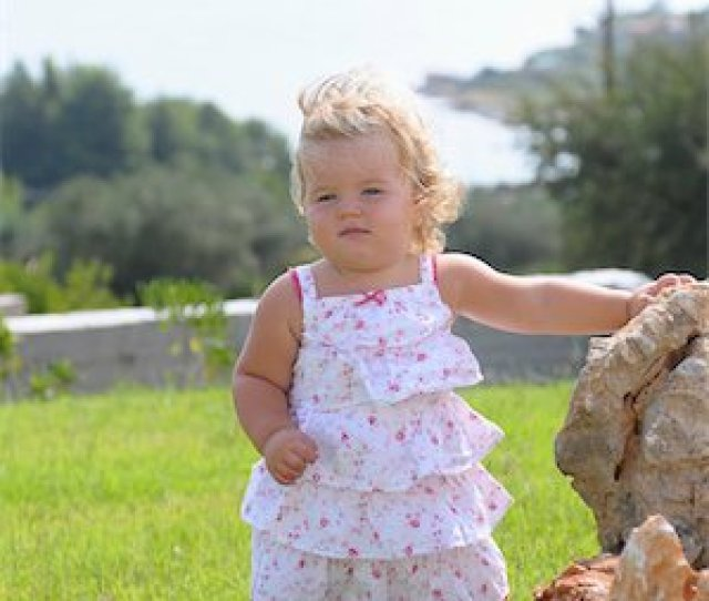 Fat Baby Girls Curly Hair Photos Little Girl Wearing Sundress Stock Photo Rights