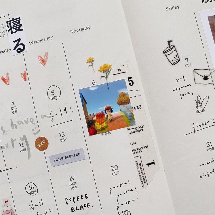 手帳示範(一):月記事裝飾