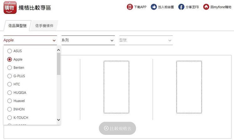 myfone購物新功能:手機規格比較