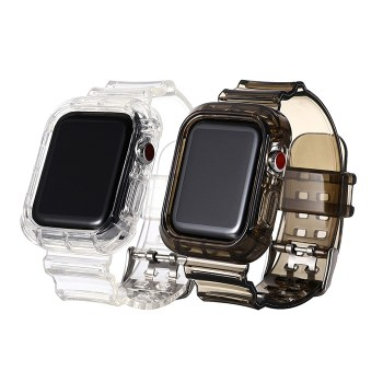 【SHOWHAN】Apple Watch 42/44mm 冰川晶透 防摔透明運動錶帶