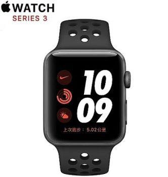 Apple Watch Nike+ Series 3 GPS 版 42mm 太空灰鋁金屬錶殼配黑色 Nike 運動錶帶