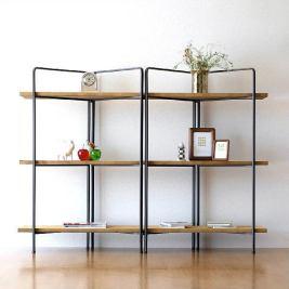 飾り棚 シンプル ディスプレイラック おしゃれ 木製 オープンシェルフ ナチュラル オープンラック 見せる収納 什器  アイアンとウッドのワイド3段シェルフ [spc5369] | ギギliving