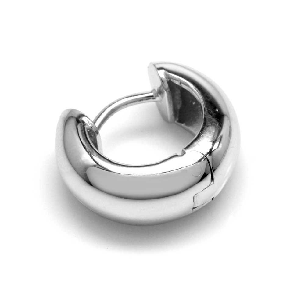 925 Sterling Silver w/White Gold Plated Huggie Hoop