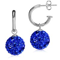 12MM Sapphire Blue Crystal 925 Sterling Silver Ball Dangle ...