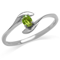 Peridot Green CZ White Gold Plated 925 Sterling Silver ...