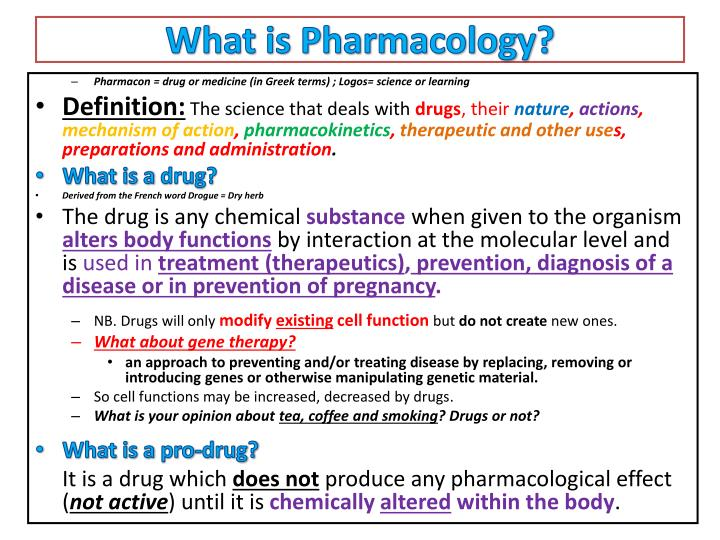 PPT - An Introduction to Pharmacology & Terminology ...