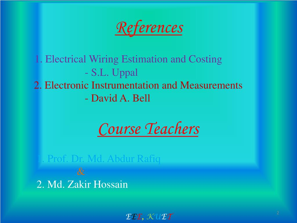 hight resolution of electrical wiring estimation and costing s l uppal 2 electronic instrumentation and measurements david a bell course teachers 1 prof