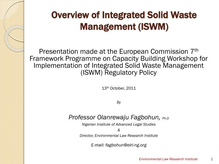 PPT - Overview of Integrated Solid Waste Management (ISWM ...