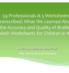PPT - 59 Professionals \u0026 5 Worksheets Transcribed: What We Learned About  the Accuracy and Quality of Brailled Math Workshe PowerPoint Presentation -  ID:1590836 [ 768 x 1024 Pixel ]