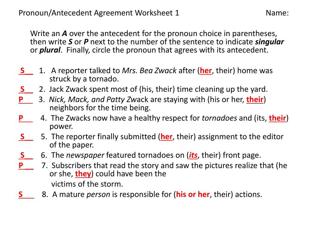 hight resolution of Pronoun Agreement Worksheet   Printable Worksheets and Activities for  Teachers