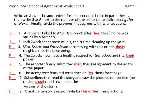 small resolution of Pronoun Agreement Worksheet   Printable Worksheets and Activities for  Teachers