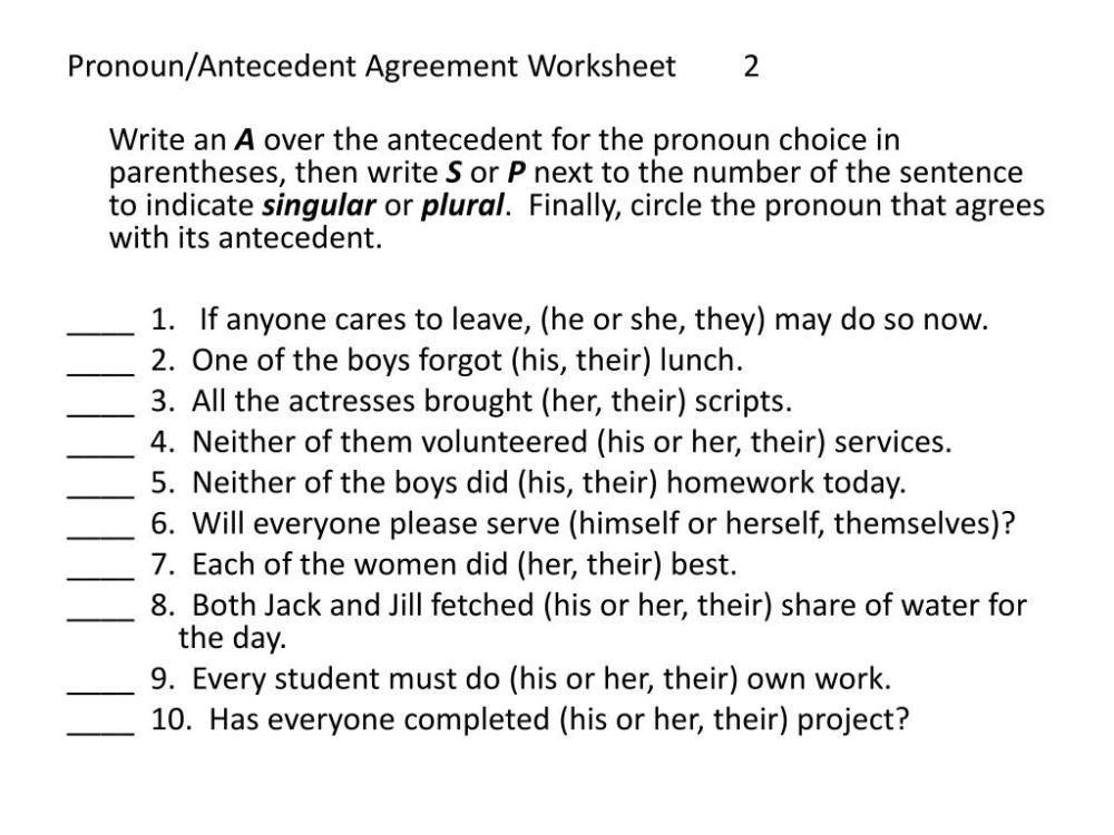 medium resolution of Pronoun Antecedent Agreement Worksheet   Printable Worksheets and  Activities for Teachers