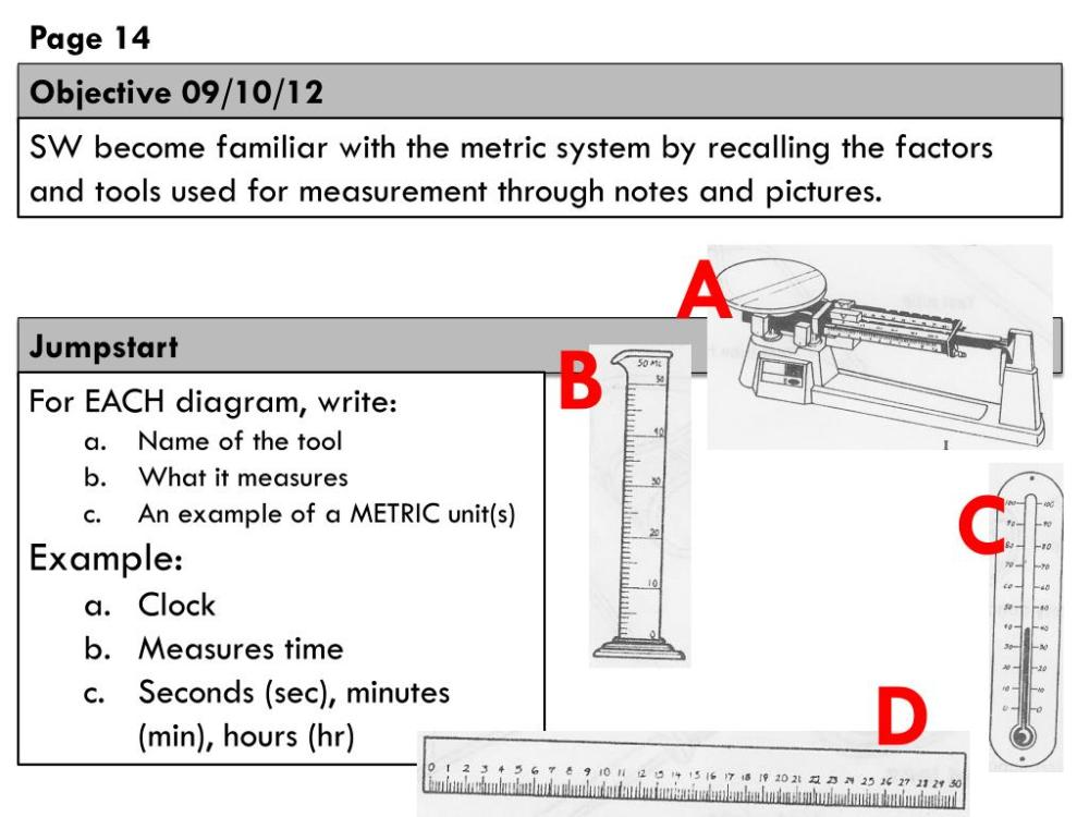 medium resolution of  familiar with the metric system by recalling the factors and tools used for measurement through notes and pictures a jumpstart b for each diagram