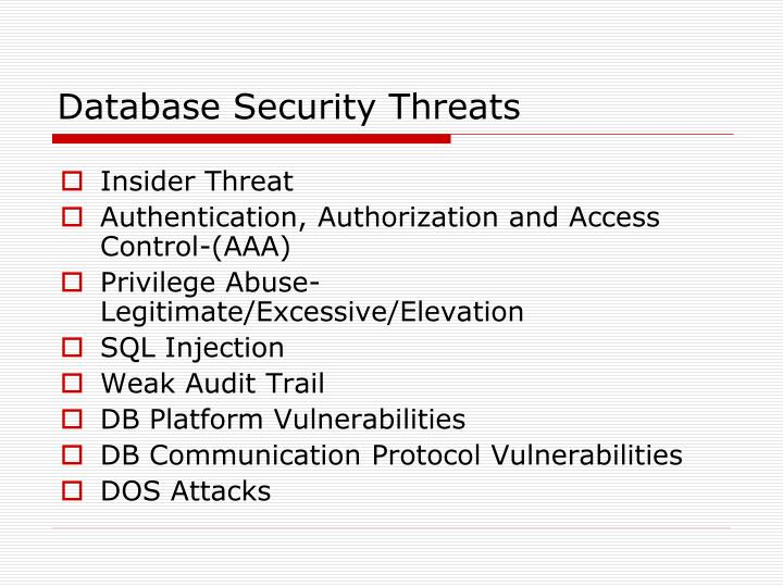 Database Security Issues And Challenges