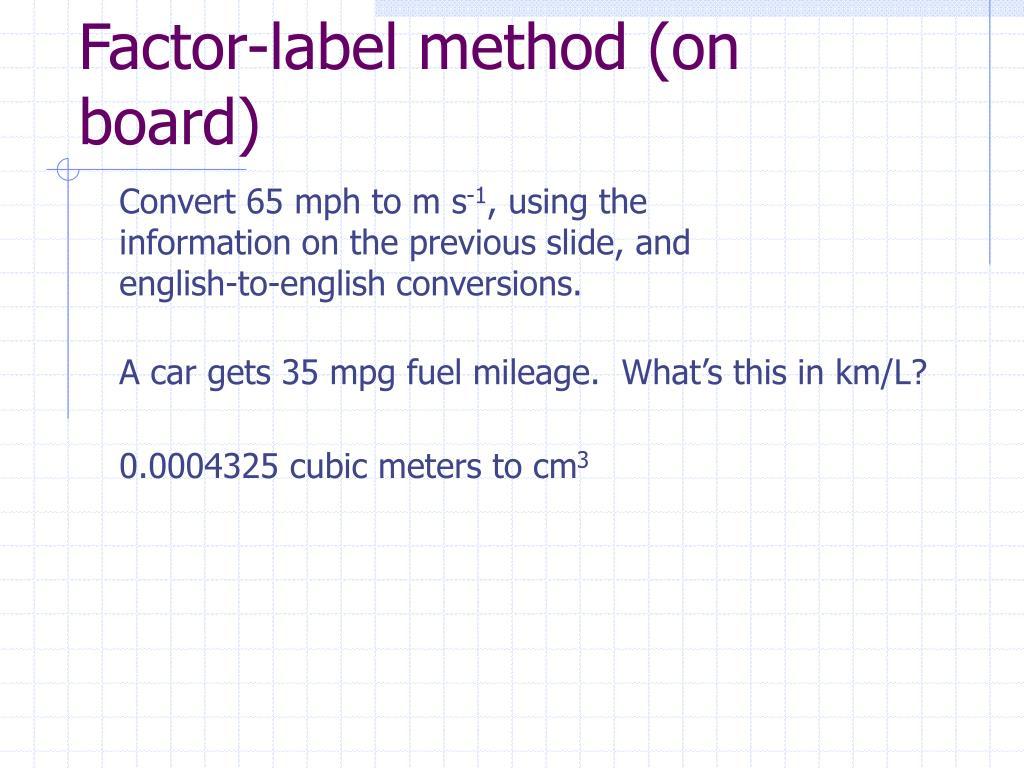 35 Factor Label Method Conversion