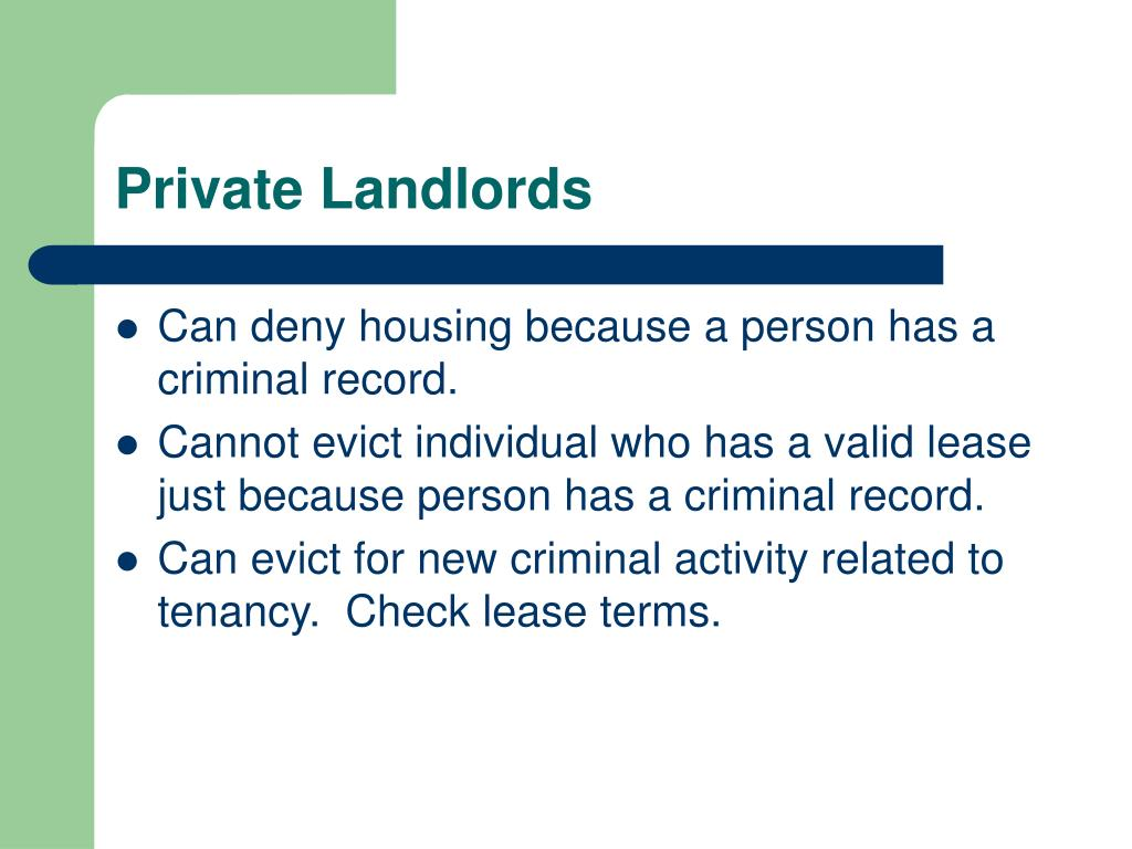 PPT - OVERCOMING BARRIERS TO HOUSING FOR PEOPLE WITH CRIMINAL RECORDS PowerPoint Presentation - ID:1760106