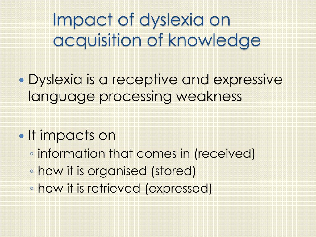PPT - An introduction to Dyslexia: impacts on learning ...